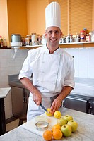 Preparing apple pie, oranges and lemons. Luis Irizar cooking school. Donostia, Gipuzkoa, Basque Country, Spain