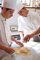Preparing puff pastry for apple pie. Luis Irizar cooking school. Donostia, Gipuzkoa, Basque Country, Spain