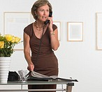 Gallery Owner Using Telephone