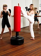 Advanced kicking exercises on the punching bag