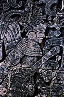 Detail of Stone Relief Carving at the Ball Court in Chichen-Itza, Mexico