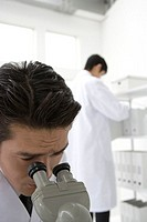 Two scientists in laboratory, one looking through a microscope, front view, rear view, differential focus