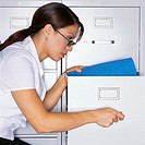 Woman Organizing Files