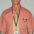 Businessman Wearing Identification Tag