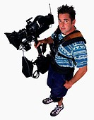 Camera Operator Holding a Movie Camera