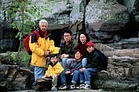 Family Posing by Rocks