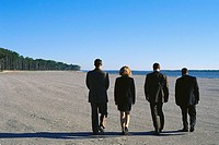 Businesspeople Walking on Beach