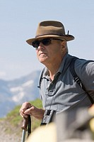 Senior, traveling stick, binoculars,  Sun glass, hat, outlook, portrait,  Men´s portrait, man, hikers, 60-70 years, sprightly, fit, vital, nimbly, wel...