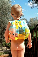 boy, 3 years, naked, swim vest,  Fanny, view from behind,   Child, childhood, lightheartedness, summer, outside, vacation, vacation, swimming help, se...