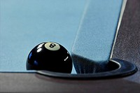 Billiards, detail, ball, black,  8, hole, end, sink  Billiard, pool billiard, billiard table, billiard ball, gangs, felt, blue, corner, locking up, vi...