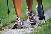couple, Nordic Walking, detail, legs,   Way, movement, sport, sport clothing, athletically, gym shoes, sticks, run sticks, completely use, trend sport...