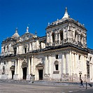 Nicaragua, Leon, view at the city,  Cathedral   Central America, church, construction, facade, renovation-needy, descended, architecture, art, culture...