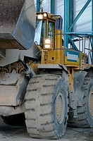 Excavator in a cement factory