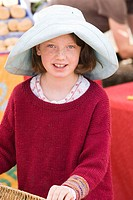 Young girl at farmer's market in Santa Fe, New Mexico