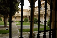 Philosophers' Courtyard of the old Colegio Mayor de San Ildefonso (now rector's office) of the University of Alcalá de Henares, Alcalá de Henares. Mad...