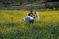 Groom Carrying Bride Through Wildflowers