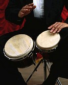 Percussionist Playing the Bongo Drums