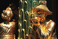 Detail of Figures from Chinese Teahouse Sculpture