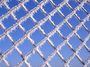 Stitch wire fence, freezes over, detail   Fence, stitch wire, wire, wire fence, ice crystals, icy, ice, ring, hoarfrost, icicles, frost, frozen, bizar...