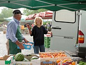 Week market, salespersons, supplier,  Conversation  Market, market stand, dealers, market salespersons, fruit stand, fruit dealers, man, woman, car, v...