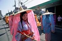 Japan, island Honshu, Kanagawa,  Odawara, Samurai-Festival, women,  Clothing, traditionally, Heian-Zeit, 794-1185, Asia, street scene, party, event, m...