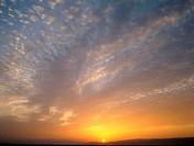 Landscape, sunset, Cloud mood  clouded sky, sun, evening sun, dusk, sunset, evening mood, wideness, distance, silence, silence, idylls, romanticism, l...