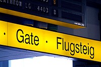 Airport, Gate, scoreboard, information,  Goal airports, detail, yellow  Airport terminal, terminal, gate, entrance, blackboard, information blackboard...