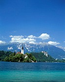 Slovenia, Bled, landscape, Bleder,  Sea, island, baroque church ´St. Maria  in the lake´, summer, Series, Balkan peninsula, Julische Alps, air health ...