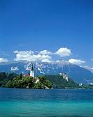 Slovenia, Bled, landscape, Bleder,  Sea, island, baroque church ´St. Maria  in the lake´, summer, Series, Balkan peninsula, Julische Alps, air health ...