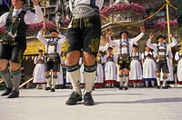 Germany, Upper Bavaria, Munich, Marie place, city foundation party, Folk dance, Schuhplattler, Bavaria, traditional group, women, men, traditional cos...