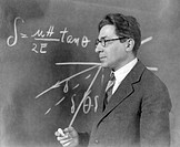 Isidor Isaac Rabi 1898-1988, US physicist and Nobel laureate, in front of a blackboard  Rabi was born in Austria-Hungary, but emigrated to the USA as ...