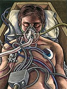 Patient on life support  Artwork showing a hospital patinet plugged into life support equipment  This could also represent medical ethics and the deci...