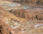 An open cast copper mine located at Morenci in Arizona, USA  The coloured areas are due to the presence of minerals such as malachite green, azurite b...