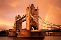 Great Britain, England, London,  Thames, tower bridge, rainbow, Dusk,  Series, capital, construction, bridge, drawbridge, historically, 1886-94 Victor...