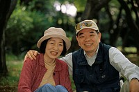 Park bank, senior couple, Asians,  smiling, portrait,   couple, seniors, Asian, 60-70 years, headgears, cheerfully, falls in love happily, embrace, lo...