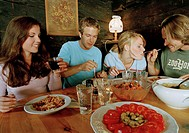 Cottage, indoors, couple two young,  Meal, coziness, fun,   Series, men, women, 20-30 years, friendship, leisure time, vacation, foods, spaghetti, sal...