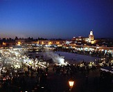 Morocco, Marrakesch, Djemaa el-Fna,  Place, market stand, people, overview,  Evening,  Africa, North Africa, Marrakech, city, center, place, drift, ma...