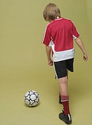 boy, soccer games, view from behind,  interior,   Series, 8-12 years, child, soccer players, sportswear, jersey, shorts, football shoes, ball, leather...