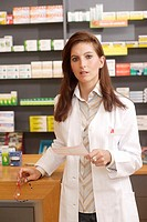 Pharmacist, store bar, recipe,  Half portrait,   Series, pharmacy, woman, employees, PTA, frocks, working clothes, gaze camera papers control checkup ...