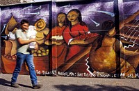 Chile, Santiago de Chile, Calle O´Higgins, Murals, passer-by, Marienfigur,  Kinetic blurring, no models release,  Latin America, South America, Región...