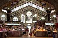 Spain, Valencia, Mercat Central,  Hall, booths, customers,   Buildings, covered market, historically, architecture, style Art nouveau market sale food...