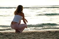 Woman, beach, vacation, summer, morning mood,
