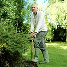 Senior man stepping on a gardening fork