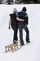 couple, falls in love, arm in arm, sleighs,  pulls, view from behind, winters,   Series, 20-30 years, going, follows suit uphill, wood sleighs, pulls ...
