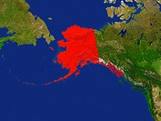Highlighted Satellite Image Of Alaska, United States Of America