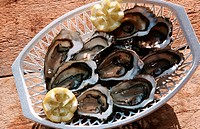 Basket, with, oysters, Ile, de, Re, France