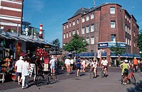 Spa, hotel, and, people, in, front, of, shops,, Island, Langeoog,, East, Friesland,, North, Sea,, Lower, Saxony,, Germany