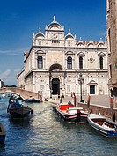 The Rio dei Mendicanti and St Mark's School, Venice. Italy