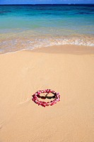 Orchid lei and sunglasses in sand on beach, foaming shore waters