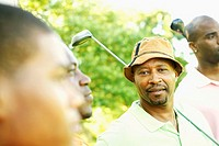 African men playing golf